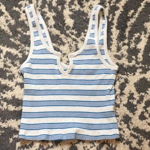 Blue and White Striped PacSun Tank Top